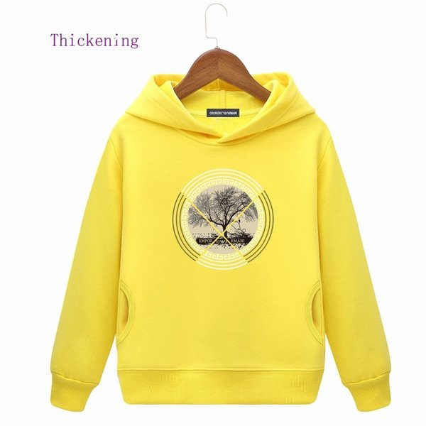 Kids Hoodies Children Plus Velvet Spelling Ribbon Cap Embroidery Sweater Package Mail winter clothes baby clothing