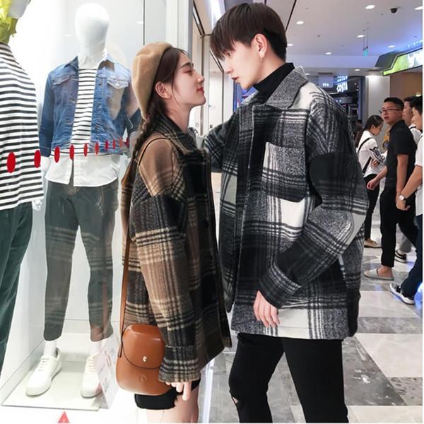 Long Sleeve Plaid Shirt Winter Jacket Loose Coats Women Black Wool Coat Oversized Tweed Lammy Cape Femme Jas Goth Korean Clothes