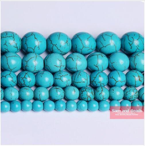 Бесплатная Доставка Гладкий Натуральный Камень Синие Бирюзовые Круглые Свободные Бусы 15