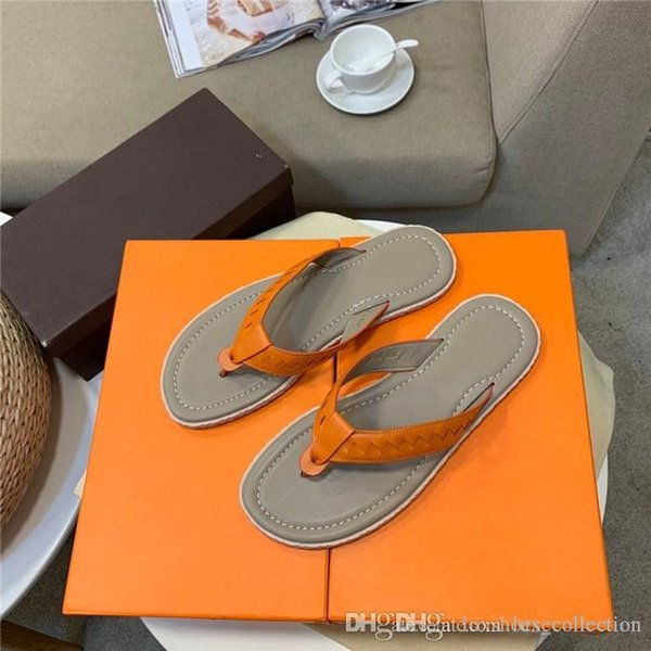Exclusive Limited Series, Classic Casual Fashion Slippers Calfskin Men Shoes, Non-Slip Flat Flip-Flops,Size 38-44 Hot sale in