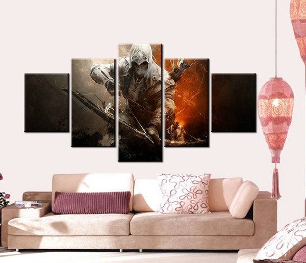 5pcs/set Unframed Assassin's Creed III Bow and Arrow Anime Poster HD Print On Canvas Wall Art Painting For Living Room Decor