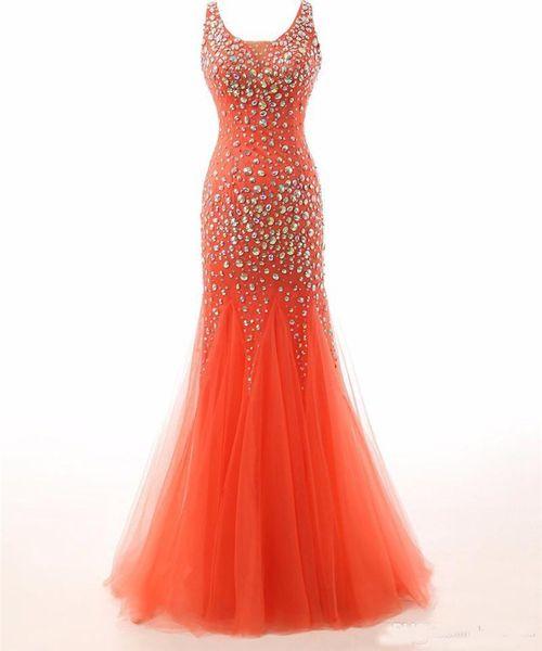 2019 New Vestido De Festa Robe De Soiree Prom Dresses Gorgeous Crystals Scoop Tulle Long Mermaid Evening Dress Robe de soiree Custom Made