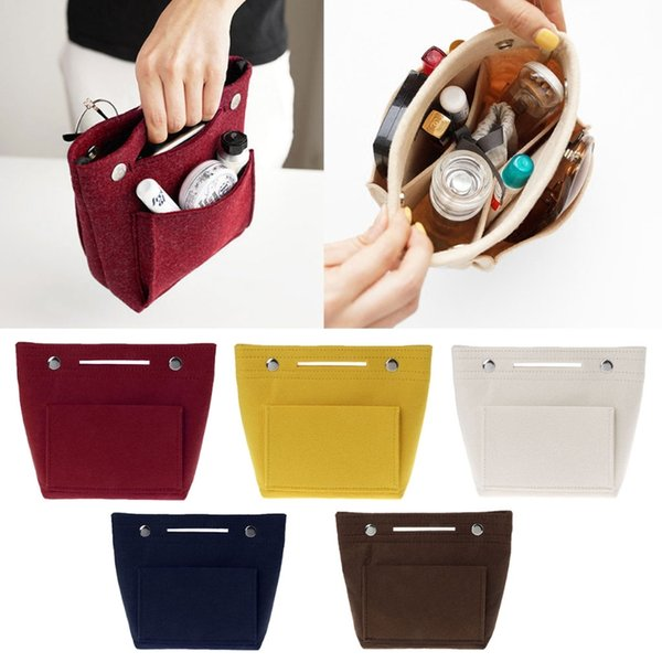 Portable Felt Fabric Insert Handbag Tote Purse Organizer Cosmetic Travel Bag