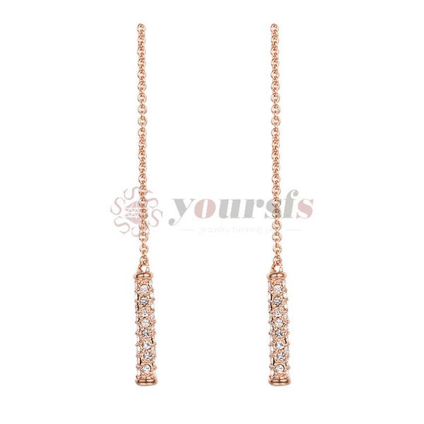 Yoursfs Hot Rose Gold Earrings - Long Stud Earrings Chain Dangle Drop Bar Jewelry Gifts for Women