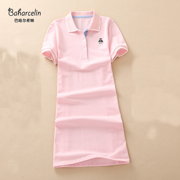 Baharcelin Polo Casual Dresses De Festa T Shirt Femme Summer Tops Clothing Woman Girl A Line Dress Ete Vestidos Pink Color Q190428