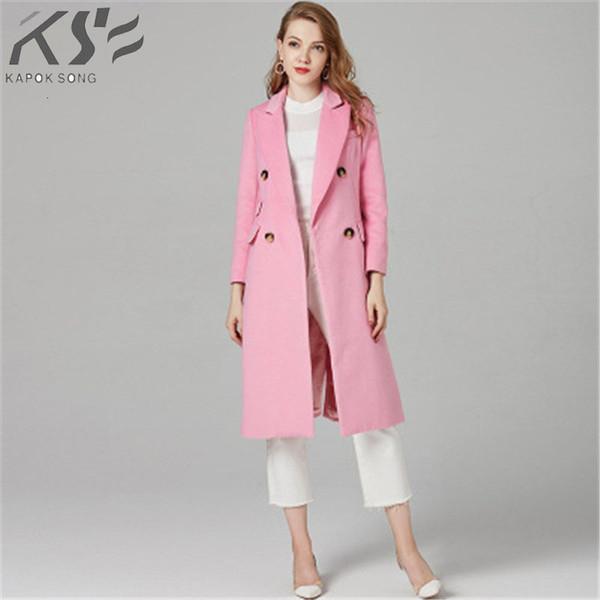 Ropa 2018 otoño e invierno nuevo rosa alargaron SH190928 capa de abrigo de lana boutique de las mujeres europeas y americanas