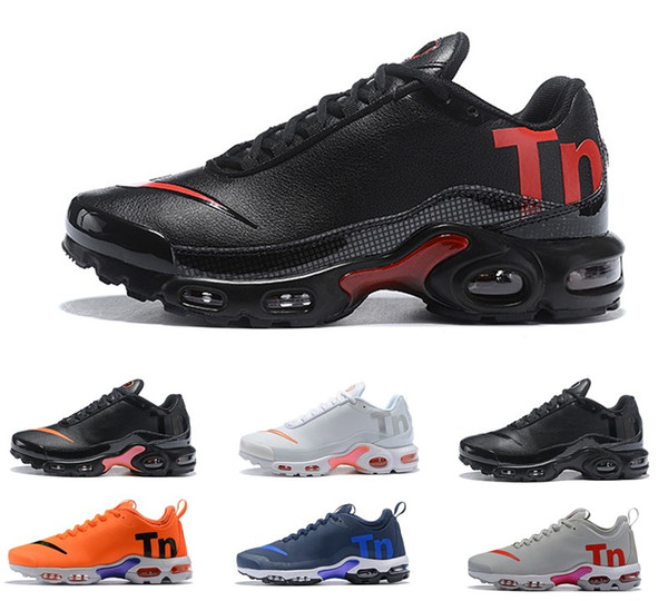 Sell 2019 Air Mercurial Plus Tn Ultra SE Triple Black White Blue Breathable Mesh Running Shoes Sports Plus TN Mens Trainers Sneakers 36 45 Womens