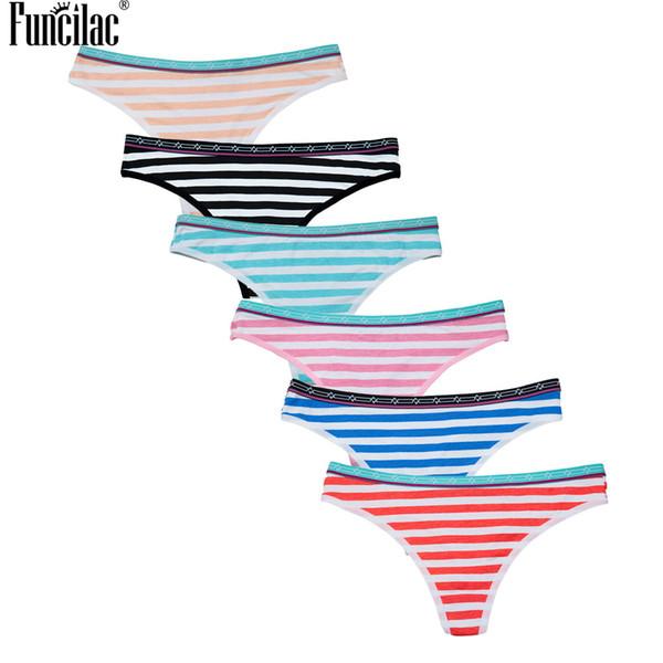 FUNCILAC Women's Stripes Thongs Cotton Waist Print G-string Gril Briefs Sexy Female  Underwear Lingerie Underpants 6Pcs/Lot