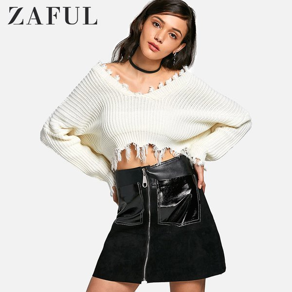 ZAFUL Frayed Cropped Knit Tassel Women Sweater Oversized Pullover Casual V-Neck Short Pull Ladies Top Female Loose Crop Sweater