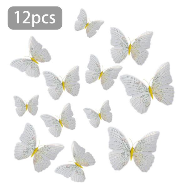 12 Stücke 3D Schmetterling Wandaufkleber Aufkleber Decor Art Kühlschrankmagnet Dekoration Gelb Schwarz Weiß Schmetterling Wandaufkleber