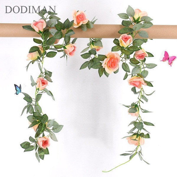 1 Pcs Silk Roses Ivy Vine Green Leaves Home Wedding Decoration Fake Leaf Diy Hanging Garland Artificial Flowers C19041701