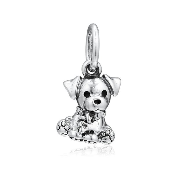 New Authentic 925 Sterling Silver Charm Black Enamel Labrador Puppy With Bone Pendant Bead Fit Pandora Bracelet Bangle Diy Jewelry