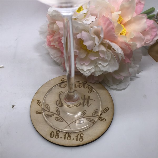 12pcs Personalized Wedding Coasters Engraved Wedding Party Wood Favors Coasters Bride and Groom Last Name Wooden Favors