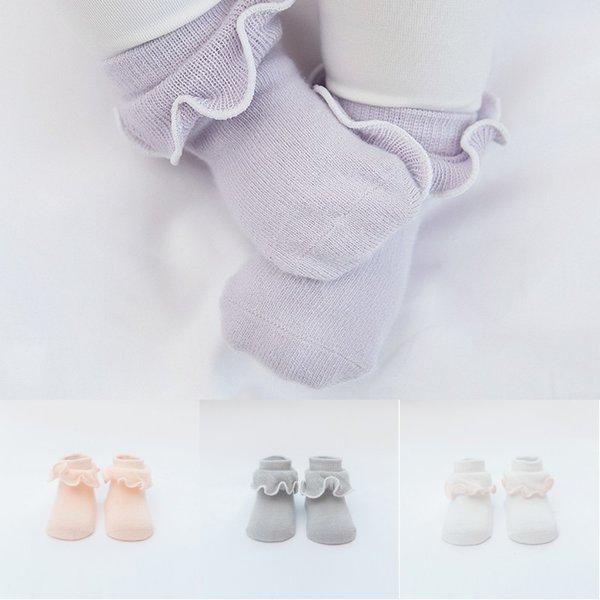 Fungo bonito Rendas Do Bebê Meninas Princesa Meias Meias De Algodão Desossado Anti-slip Criança Primavera Verão Outono Meias Curtas