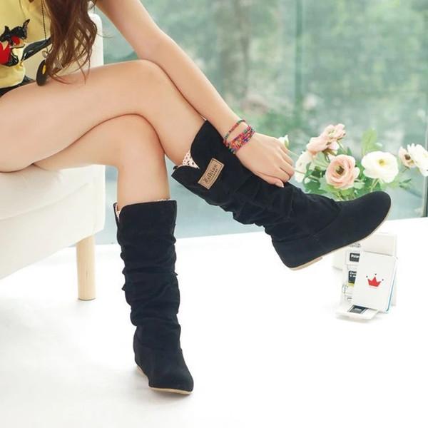 Primavera Outono Botas Mulheres Feminino Dedo Do Pé Redondo Mid-bezerro Doce Princesa Bota Festa Elegante Plana Flock Shoes Botas de Neve