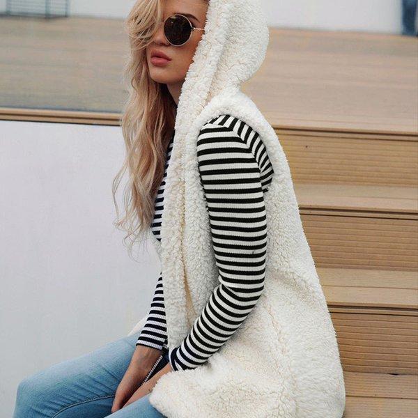 Donna Autunno Inverno Vintage Faux Lana di agnello Gilet senza maniche Felpe con cappuccio Faux Fur Vest Hood Outwear Cappotto di pelliccia XXXL 6Q2143