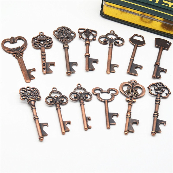 top popular 13 Styles Keychain Opener Ancient Copper Key Beer Bottle Opener Creative Wedding Gift Party Bar Tool 2019