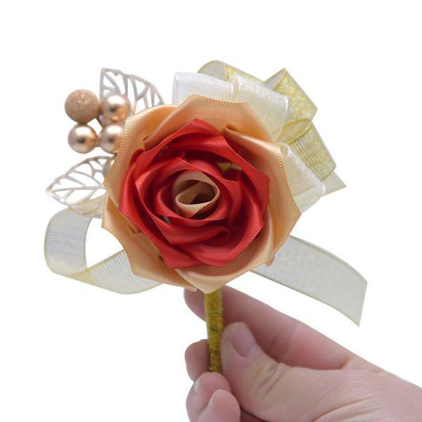 Chinese Wedding Bride Bridegroom Corsage 3 Colors Imitation Rose Bridesmaid Wrist Flower Bride Wedding Gown Flower Brooch 100 Pieces DHL