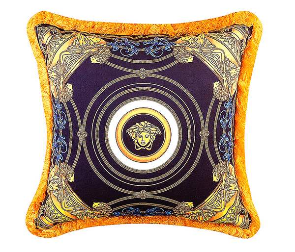 50cm Vers Baroque Brand Medusa Designer Decorative Pillows Covers Velvet Thicken Tassel Cushion Case Creative Luxury Royal Home Cojines