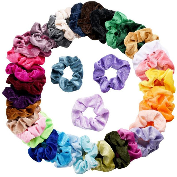 top popular 36 Pcs Hair Scrunchies Velvet Elastic Hair Bands Ties Ropes Scrunchie For Women Or Girls Accessories 2021
