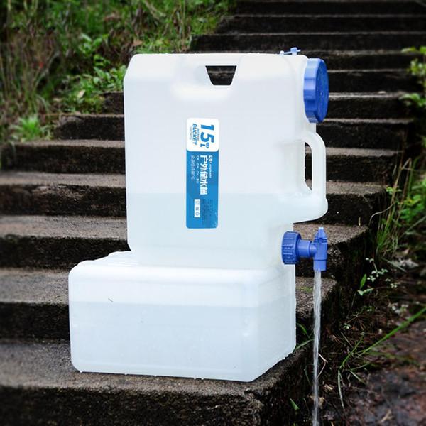 Contenitore per la conservazione dell'acqua potabile 15L Contenitore per secchio d'acqua portatile con rubinetto per campeggio Picnic BBQ Tour senza guida