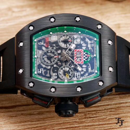 best selling 2019 fashion R-M mens watch black case excellent quality men watches automatic self-winding sweeping movement watch rubber strap