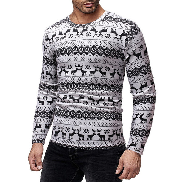 Mjartoria 2019 Christmas Print Sweater Fashion O Neck Long Sleeve Pullover Male Casual Striped Pull Slim Fit Knitted Sweaters T190622