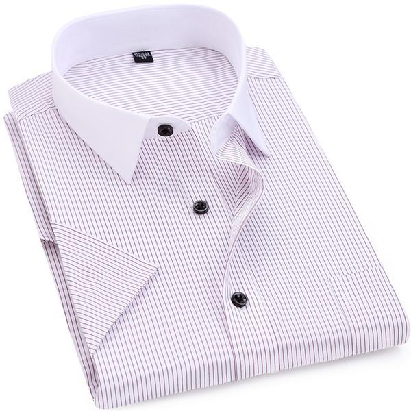 Men Striped Shirt 2018 Summer Men Smart Casual Short Sleeves Turn-down Collar Dress Shirt White-collar Design 5xl 6xl 7xl 8xl