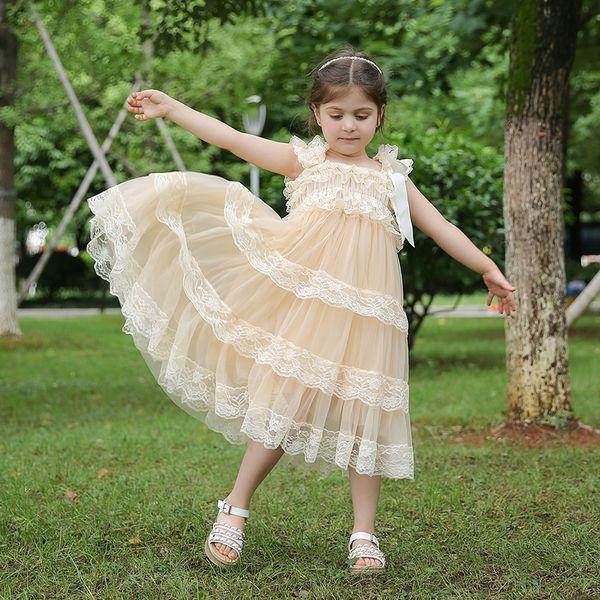 Princesa Roupas Atacado Flower Girls Estilo Vintage Vestido De Noiva Lace e Chiffon Vestido em Champagne Frete Grátis