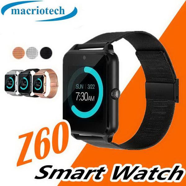 Z60 Akıllı İzle ile Bluetooth Mens Smartwatch Lüks Paslanmaz Çelik Destek SIM ve TF Kart ile Smartwatch IOS Android için Perakende Kutusu ile