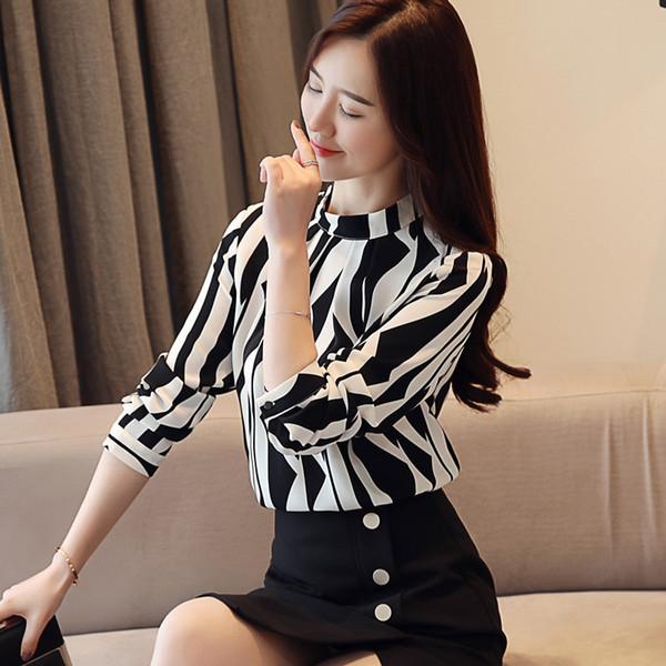 4217eb6580 Moda-Descuentos para mujer Tops y blusas 2018 Otoño Nueva moda OL Soporte de  impresión Collar Mujeres Manga larga Camisa delgada Señoras Camisas de  oficina