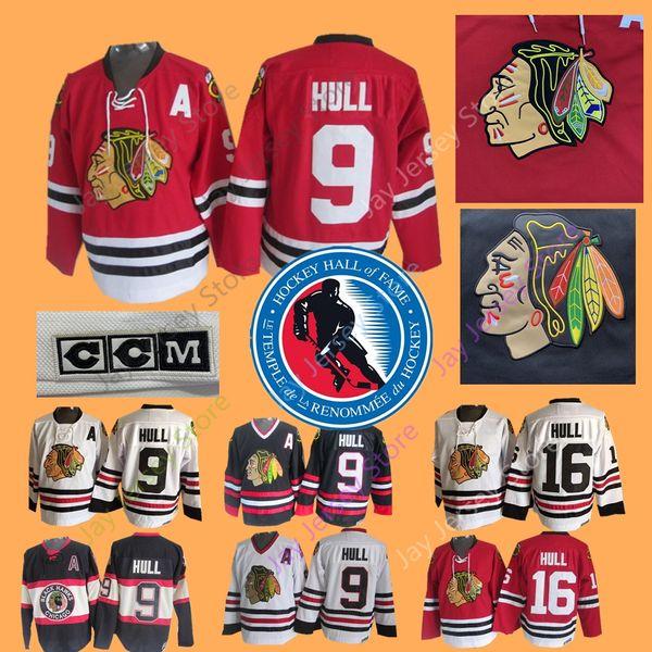 Bobby Hull Jersey 9 16 1983 Salón de la Fama Hockey sobre hielo Chicago Blackhawks Winnipeg Jets CCM Vintage Jerseys Tercer Negro Rojo Blanco