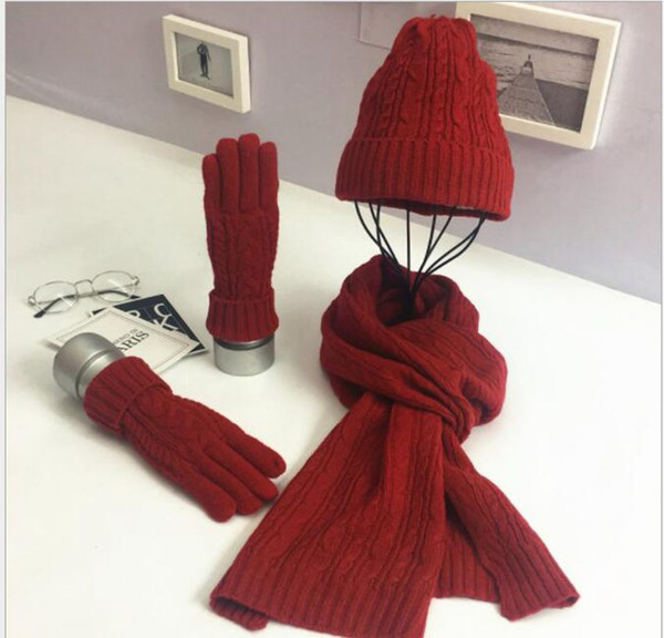 Unisexe chapeau écharpe gants ensemble hiver chaud Femmes Hommes Tricoté Ski Bonnet Bonnet Chaud Chapeau 3pcs 1set KKA6395