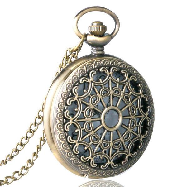 En iyi hediye Yarım Hunter Modern Bronz Kuvars Pocket Watch Yuvarlak Beyaz Arapça Numaraları Analog Saatler ile Saatler Hediyeler Kolye saatler