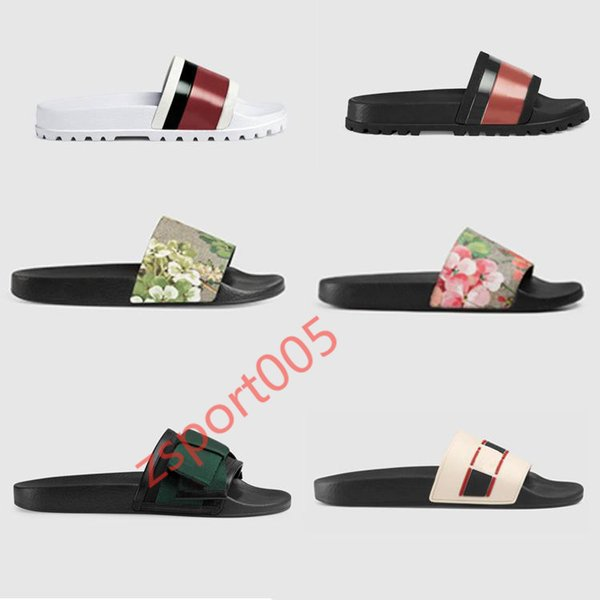 best selling hococal Designer Rubber slide sandal Floral brocade men slipper Gear bottoms Flip Flops women striped Beach causal slipper with Box US5-11