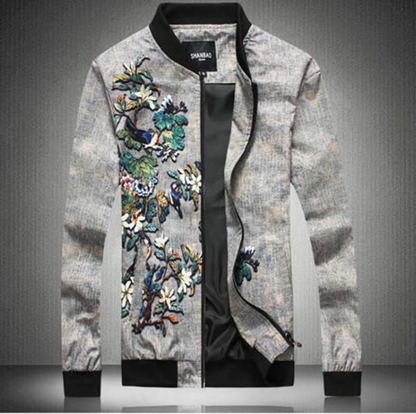 Uomo autunno e inverno nuova boutique coreana personalità casual moda moda bella stampa sottile giacca da baseball giovanile / M-5XL