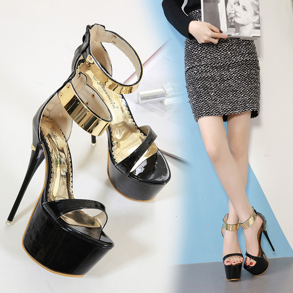 Fascinating2019 Word One Button Thin Toes With 16 Centimeter Hate Day High Waterproof Platform High-heeled Shoes Stage Show Woman Sandals