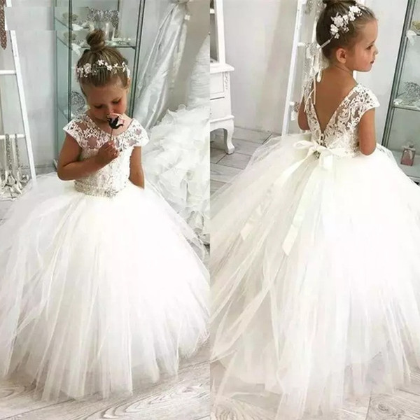 2019 Luxury Crystals Flower Girl Dresses For Wedding Vestidos Primera Comunion Para Ninas Kids First Pageant Communion Dresses Navy Flower Girl
