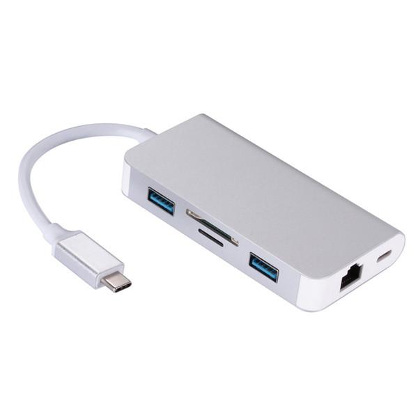 El concentrador del lector de tarjetas LAN Gigabit tipo C carga el convertidor multifunción usb3.1 tipo c a rj45