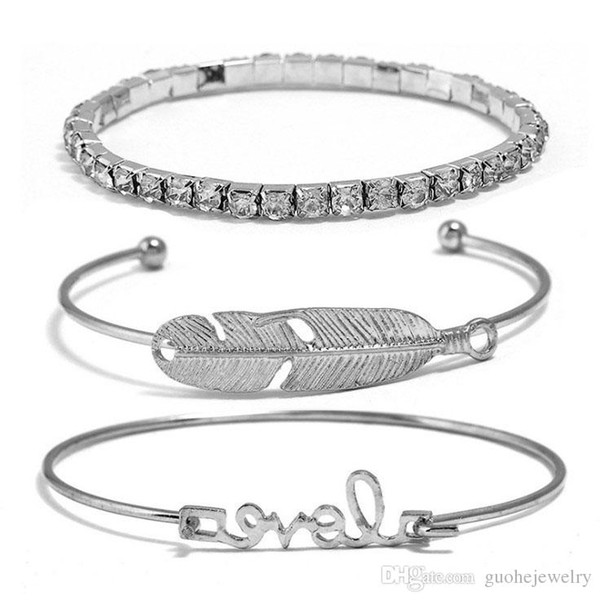 Factory direct sales Europe and America simple new jewelry feather bracelet diamond open bangle set free shipping