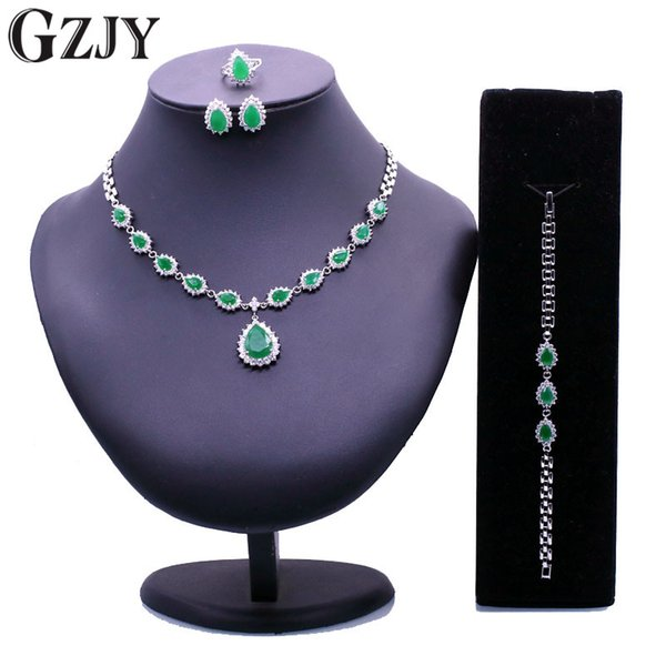 GZJY Noble Gold Color Crystal AAA Zircon Necklace Ring Earrings Bracelet For Women Wedding Anniversary Jewelry Sets