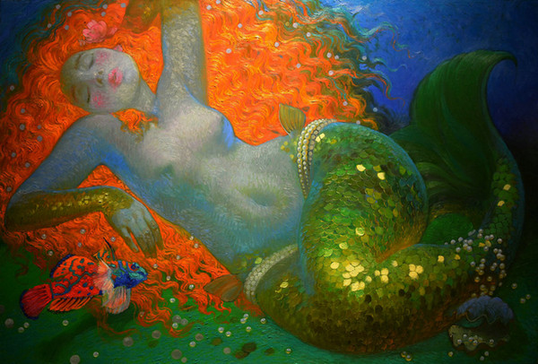 Hot Art Decor Fantasy Vintage Mermaid Oil painting Wall Picture Printed on Canvas series Reproduction Modern office Living Room Decor V049