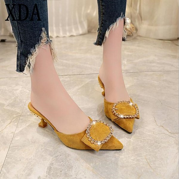 XDA 2019 Estate Ciabatte con tacco alto Pantofole da donna stile punta a punta Cristallo donne Pantofola Moda bocca superficiale scarpe singole A303