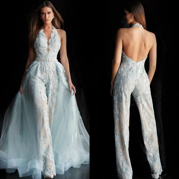 Sexy 2019 Blue Backless Jumpsuits Prom Dresses Halter Neck Lace Appliques Evening Gowns Plus Size Formal Pageant Pants Suit Party Wear