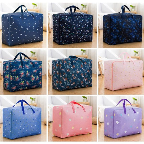 22*15*8.6 inch Waterproof Oxford Large Capacity Quilt Storage Bag Portable Double Zipper Quilt Bags Folding Clothes Luggage Bags DH1040-1