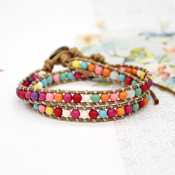 Pelle fili intrecciati Handmade delle donne Bohemian Boho braccialetti colorati perline pietra naturale a più strati Wrap Bracciali Beach monili del regalo