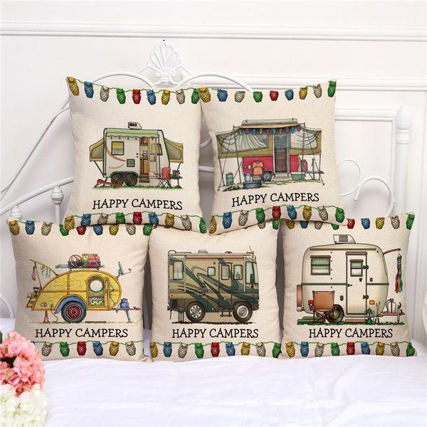 Happy Camping Car Pillow Case Dog Cow Sofa Cushion Cover Cotton Linen Pillow Case Camping Car Square Decorative Pillow Cases