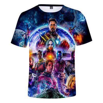 Avengers 4 batalla final camiseta de manga corta, la misma ropa de niños de primavera / verano 3D para hombres y mujeres ropa cómoda y suave