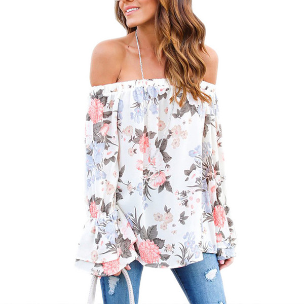 Long Flare Sleeve Womens Floral Blouse 2018 Summer Off Shoulder Ladies Boho Tops Female Tunics Causal Ruffle Tee Shirts Femme