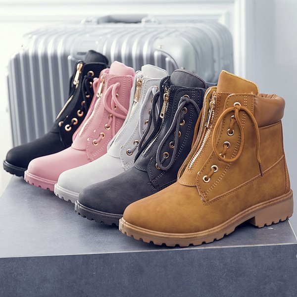 Fashion Winter Top Quality Motorcycle Martins Boots Women lace up zipper Ankle Boots flats low heel short boots fgb67